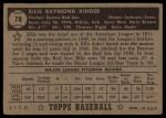 1952 Topps #78 BLK Ellis Kinder  Back Thumbnail