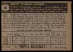 1952 Topps #60 BLK  Sid Hudson Back Thumbnail