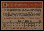 1952 Topps #21 RED  Ferris Fain Back Thumbnail