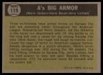 1961 Topps #119  A's Big Armor  -  Norm Siebern / Hank Bauer / Jerry Lumpe Back Thumbnail