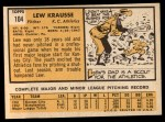 1963 Topps #104   Lew Krausse Back Thumbnail