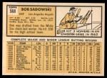 1963 Topps #568  Bob Sadowski  Back Thumbnail