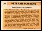 1963 Topps #43  Veteran Masters    -  Casey Stengel / Gene Woodling Back Thumbnail