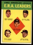 1963 Topps #6  1962 AL ERA Leaders  -  Whitey Ford / Dean Chance / Hank Aguirre / Eddie Fisher / Robin Roberts Front Thumbnail