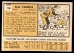 1963 Topps #104   Lew Krausse Back Thumbnail