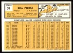 1963 Topps #50  Bill Pierce  Back Thumbnail