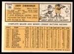 1963 Topps #186   Jerry Zimmerman Back Thumbnail