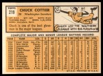 1963 Topps #219  Chuck Cottier  Back Thumbnail