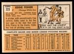 1963 Topps #223  Eddie Fisher  Back Thumbnail