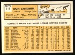1963 Topps #113  Tom Landrum's Card with Ron Santo's Picture  -  Don Landrum / Ron Santo Back Thumbnail