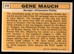 1963 Topps #318   Gene Mauch Back Thumbnail
