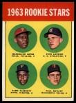 1963 Topps #549   Rookie Stars  -  Marcelino Lopez / Paul Ratliff / Pete Lovrich / Elmo Plaskett Front Thumbnail