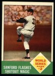 1963 Topps #143  1962 World Series - Game #2 - Sanford Flashes Shutout Magic  -  Jack Sanford Front Thumbnail