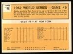 1963 Topps #146  1962 World Series - Game #5 - Tresh's Homer Defeats Giants  -  Tom Tresh Back Thumbnail