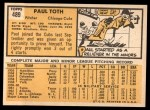 1963 Topps #489   Paul Toth Back Thumbnail