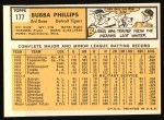 1963 Topps #177  Bubba Phillips  Back Thumbnail