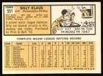 1963 Topps #551   Billy Klaus Back Thumbnail