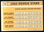 1963 Topps #158  Rookies    -  Rogelio Alvarez / Dave Roberts / Tommy Harper / Bob Saverine Back Thumbnail
