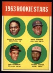 1963 Topps #158  Rookies    -  Rogelio Alvarez / Dave Roberts / Tommy Harper / Bob Saverine Front Thumbnail