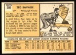 1963 Topps #508  Ted Savage  Back Thumbnail