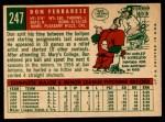 1959 Topps #247   Don Ferrarese Back Thumbnail