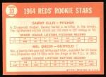 1964 Topps #33   Reds Rookie Stars  -  Sammy Ellis / Mel Queen Back Thumbnail