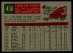 1959 Topps #458  Gordon Jones  Back Thumbnail