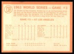 1964 Topps #138  1963 World Series - Game #3 - L.A. Takes 3rd Straight - Ron Fairly  Back Thumbnail