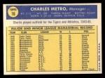 1970 Topps #16   Charlie Metro Back Thumbnail