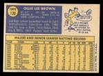 1970 Topps #130   Ollie Brown Back Thumbnail