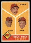 1960 Topps #466  Phillies Coaches  -  Ken Silvestri / Dick Carter / Andy Cohen Front Thumbnail