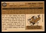 1960 Topps #254   Arnie Portocarrero Back Thumbnail