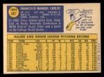 1970 Topps #487   Cisco Carlos Back Thumbnail