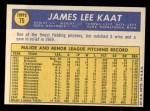 1970 Topps #75  Jim Kaat  Back Thumbnail
