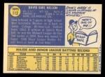 1970 Topps #112  Dave Nelson  Back Thumbnail