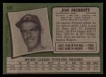 1971 Topps #420   Jim Merritt Back Thumbnail