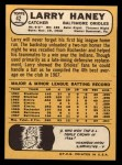 1968 Topps #42   Larry Haney Back Thumbnail