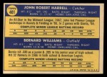 1970 Topps #401   -  John Harrell / Bernie Williams Giants Rookies Back Thumbnail
