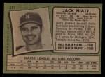1971 Topps #371   Jack Hiatt Back Thumbnail