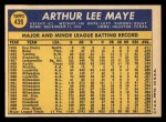 1970 Topps #439  Lee Maye  Back Thumbnail