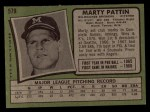 1971 Topps #579   Marty Pattin Back Thumbnail