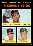 1971 Topps #69  AL Pitching Leaders    -  Mike Cuellar / Dave McNally / Jim Perry Front Thumbnail