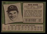 1971 Topps #100  Pete Rose  Back Thumbnail