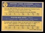 1970 Topps #74  Angels Rookies  -  Greg Washburn / Wally Wolf Back Thumbnail