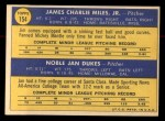 1970 Topps #154   -  Jan Dukes / Jim Miles Senators Rookies Back Thumbnail