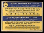 1970 Topps #267  Twins Rookie Stars  -  Herman Hill / Paul Ratliff Back Thumbnail