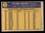 1970 Topps #291   Leo Durocher Back Thumbnail