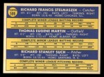 1970 Topps #599  Senators Rookies  -  Gene Martin / Dick Stelmaszek / Dick Such Back Thumbnail