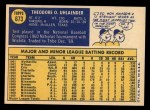 1970 Topps #673   Ted Uhlaender Back Thumbnail