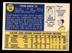1970 Topps #704   Frank Baker Back Thumbnail